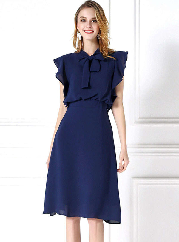 Solid Color Falbala Bow Neck Midi Dress