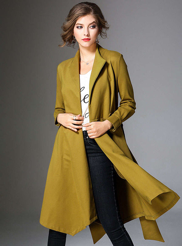Solid Color Tie Waist Bodysuit Wind Coat