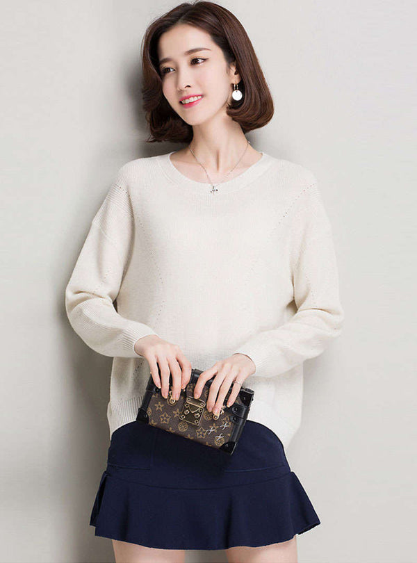 Solid Color Round-Neck Woolen Sweater