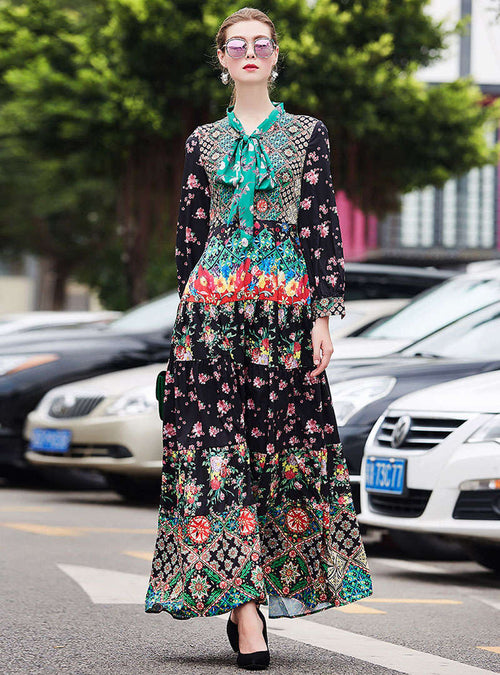 Match Color Floral Printed Bow Neck Maxi Dress