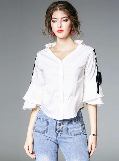 White V-Neck Lace-up Blouse