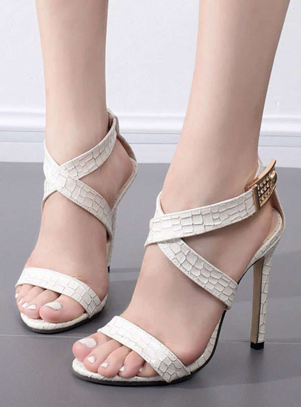 Snakeskin Buckle Stiletto Heel Sandals