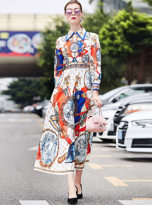 Retro Floral Printed Lantern Sleeve Maxi Dress
