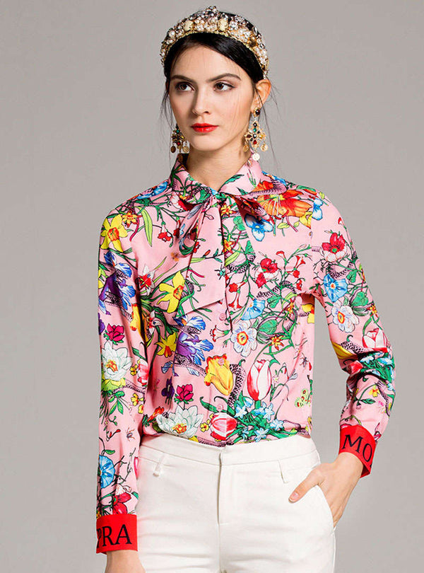 Pink Floral Printed Bowknot Neck Blouse