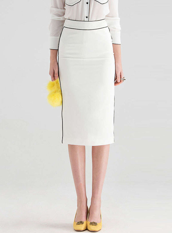 White High-Waist Split Bodycon Skirt