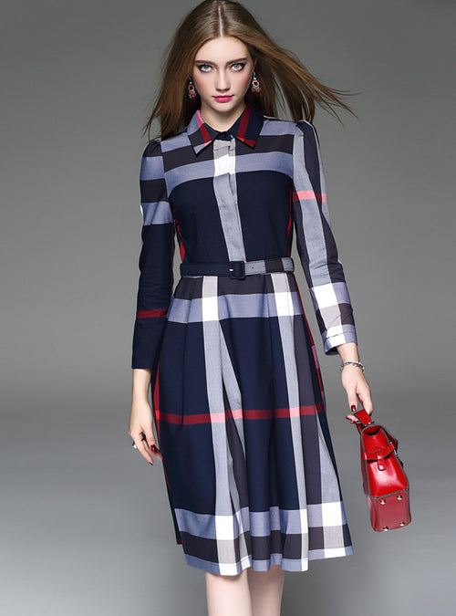 Blue Grid Printed Belted Midi Dress