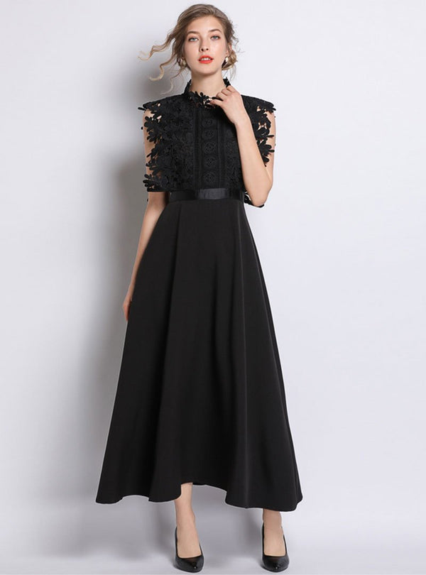 Black Belted Waist Swing Sleeveless Maxi Dress
