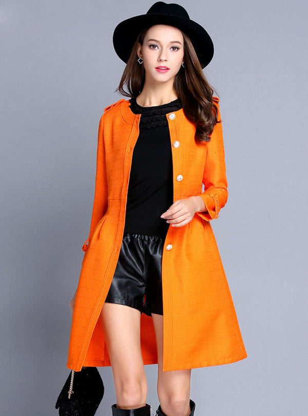 Orange Flax Buckle Trench Coat