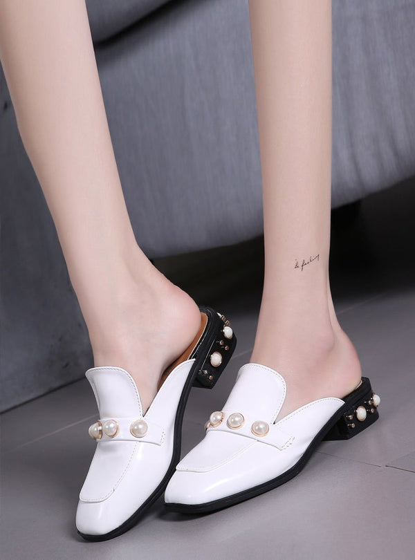 Front Pearl Square Toe Slip On Flats