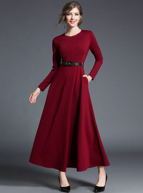 Wine Red Belt Waist Maxi Dress