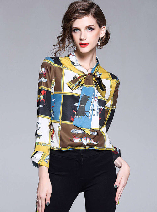 Multi-Color Animal Printed Bow Neck Blouse