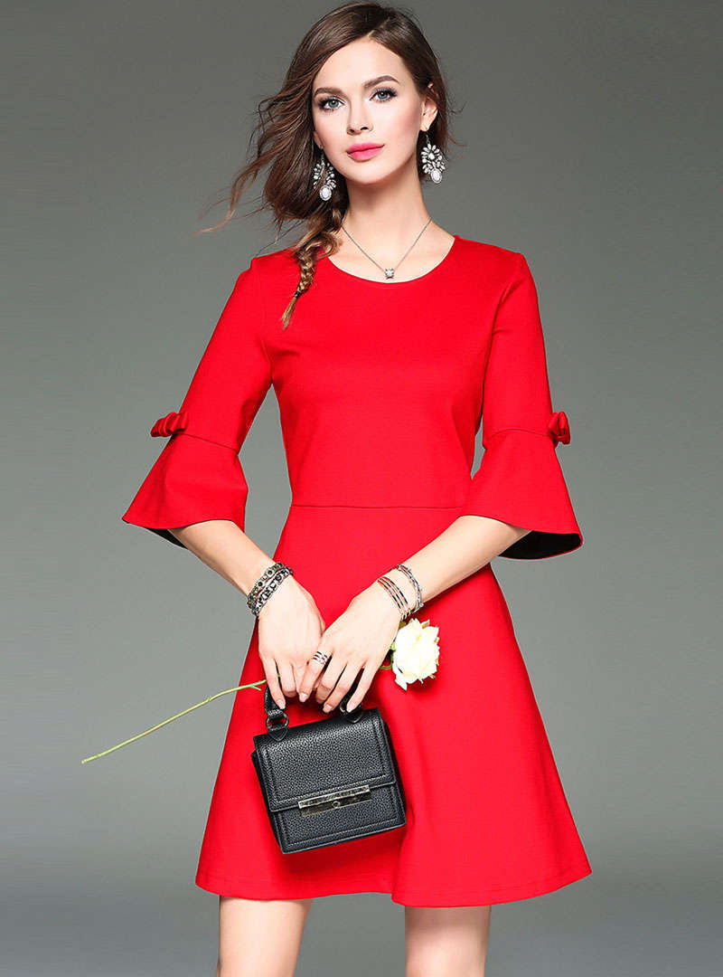 Solid Color Flare Sleeve A-Line Mini Dress