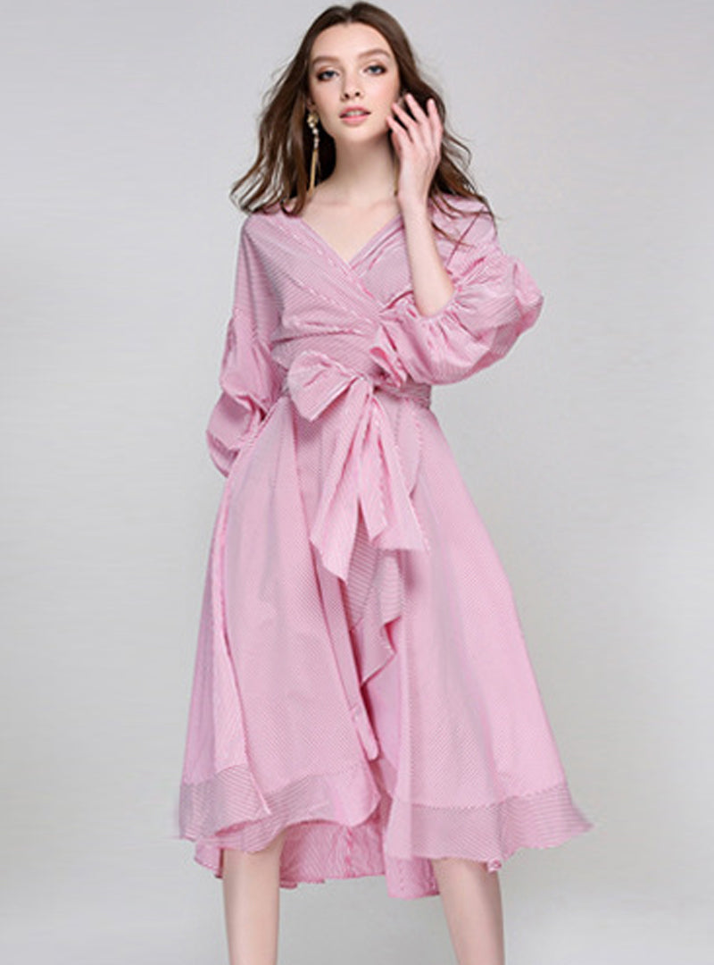 Pink Striped Bow Tied Puff Sleeve Midi Dress