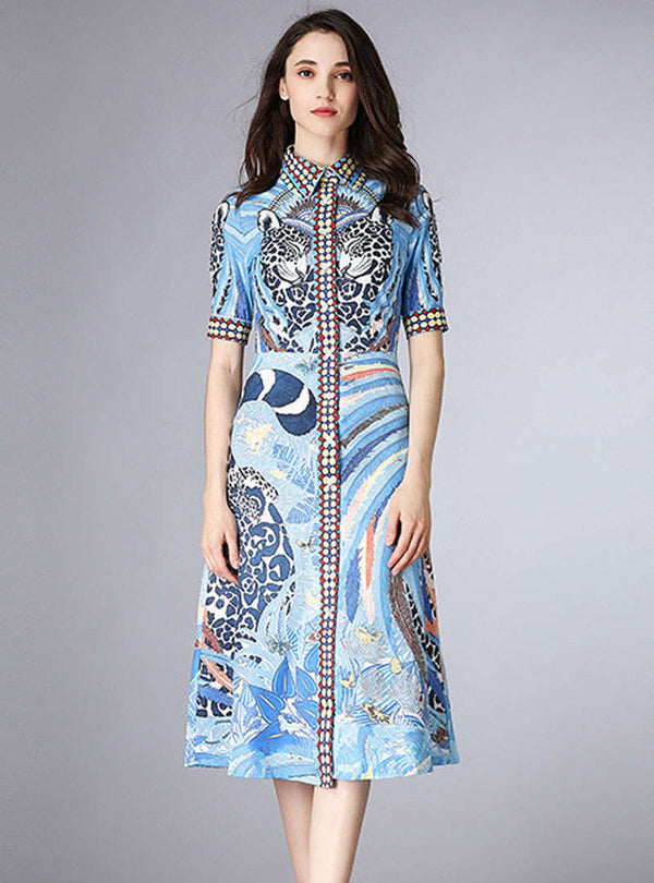 Scenery Printed Spliced Slim A-Line Midi Dress