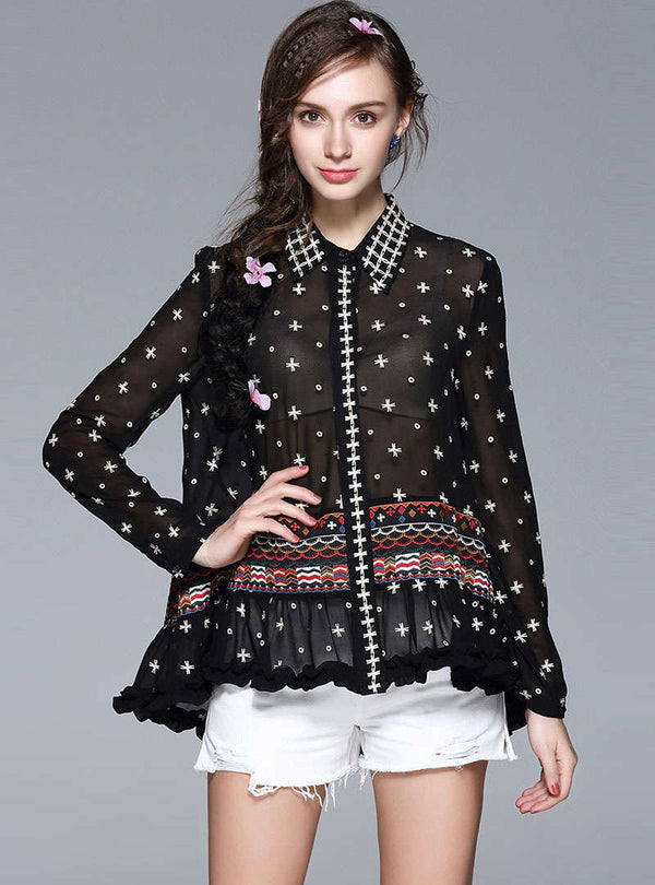 Black Embroidered Blouse With See Through Detail