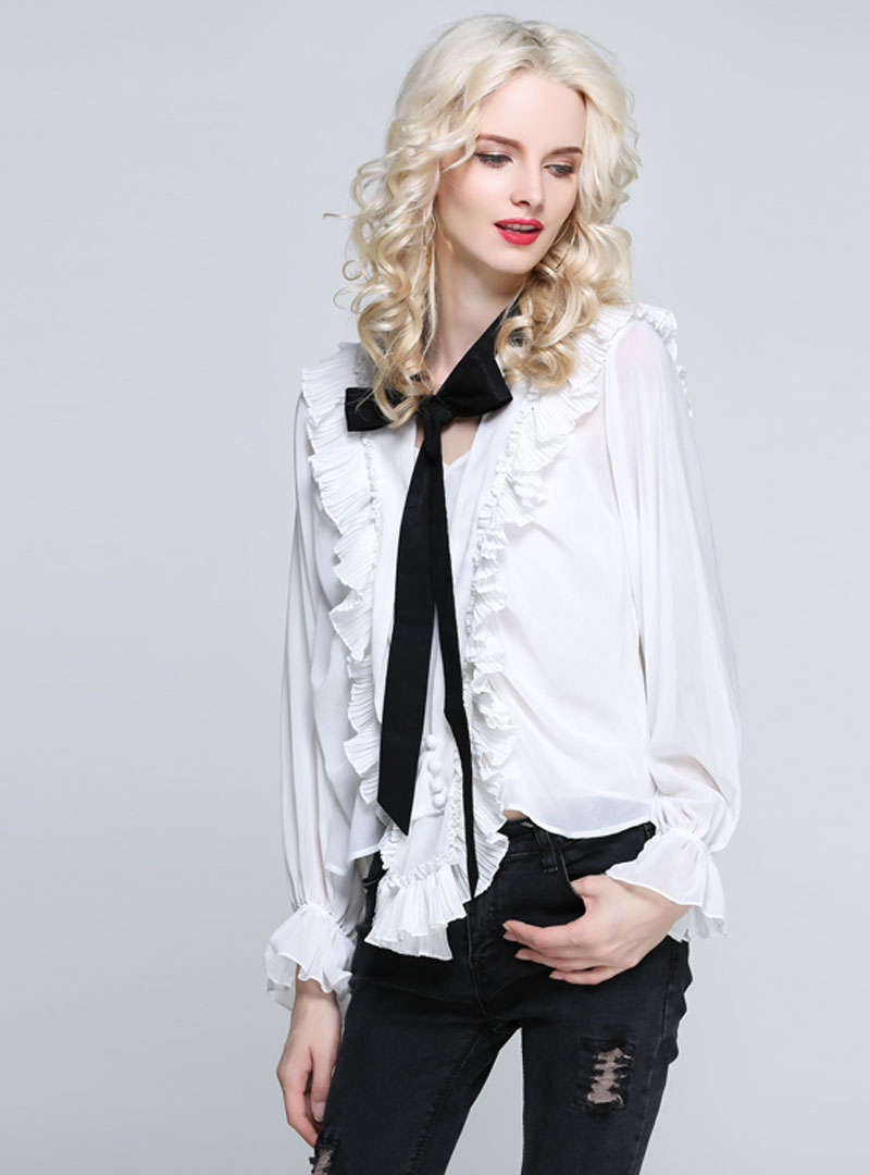 Pure Color Ruffled Blouse With See Through Detail