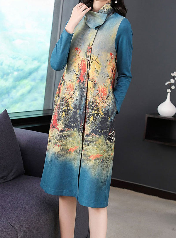 Blue Floral Printed High Neck Midi Dress