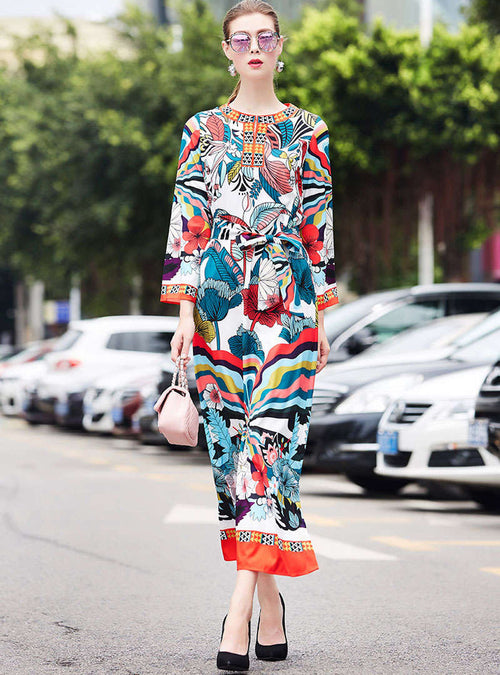 Retro Floral Printed Tie Waist Maxi Dress