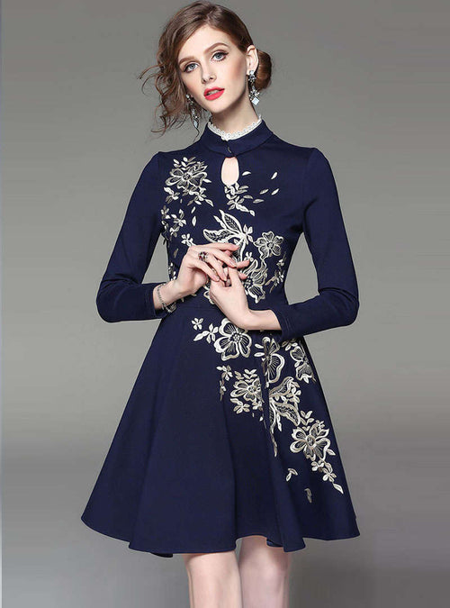 Navy Blue Floral Embroidered Cinched Waist Mini Dress
