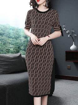 Brown Printed Elegant Knited Dress