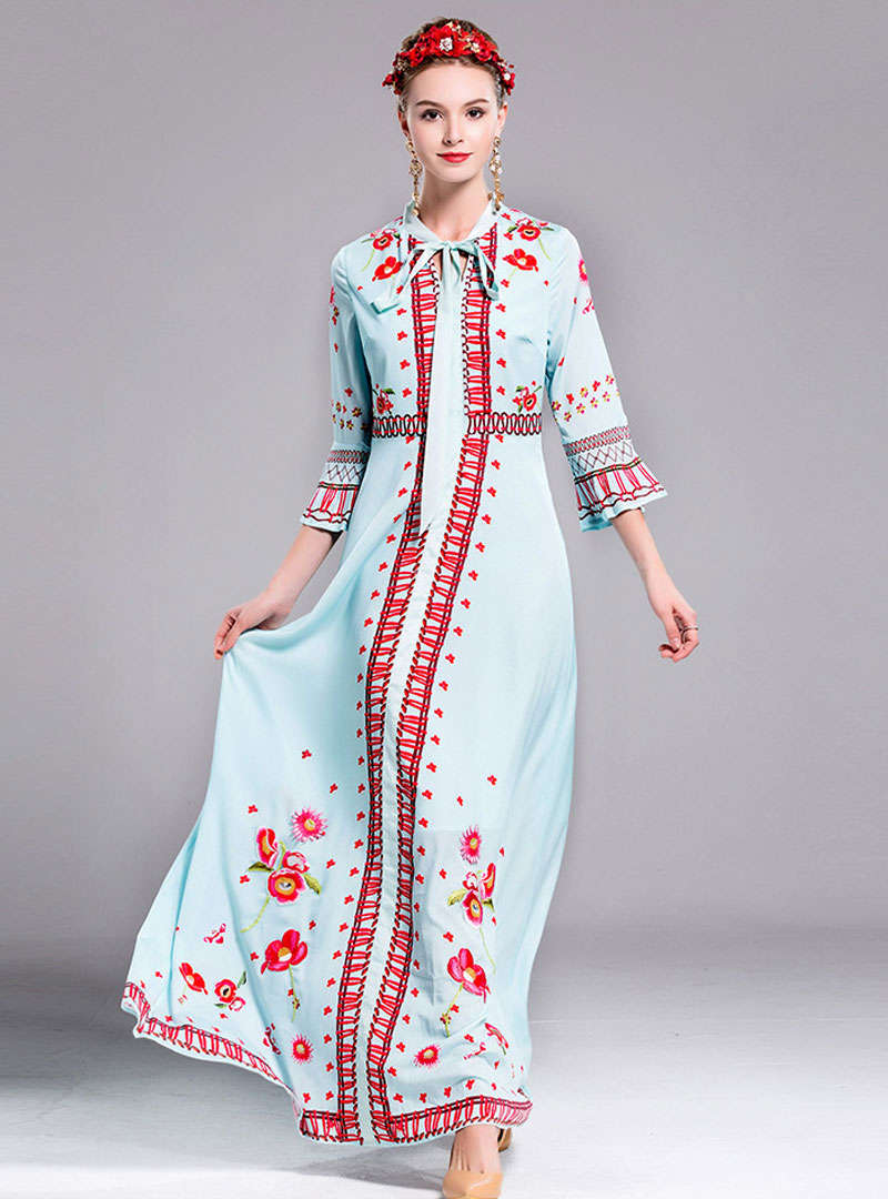 Solid Color Flare Sleeve Bowknot Tie Maxi Dress