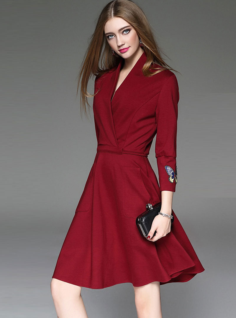 Wine Red Cinched Waist V-neck Midi Dress