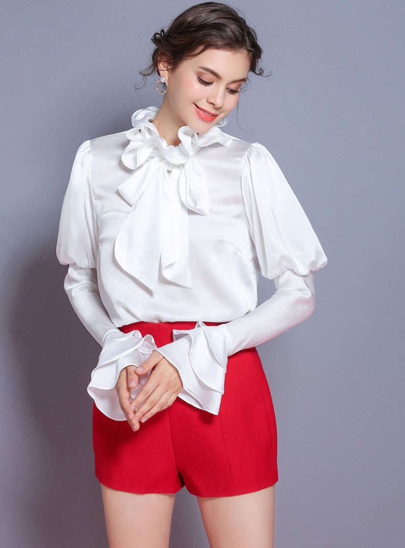 White Lantern Sleeve Tie Neck Blouse