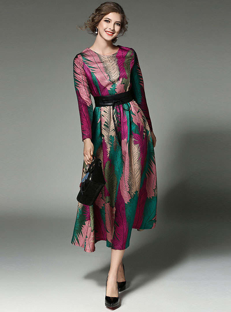 Multi Floral Printed Cinched Waist Maxi Dress