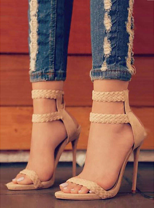 Zipper Weave Stiletto Heel Sandals