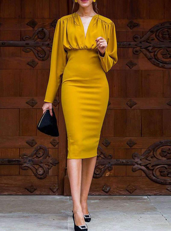 Yellow Bodycon Sexy Midi Dress