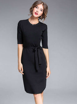 Black Cinched Waist Knitted Midi Dress