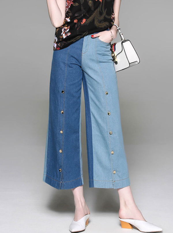 Blue Loose Spliced Buckle Jeans