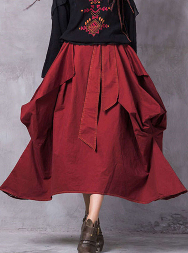 Wine Red Irregular Bowknot Tie Skirt