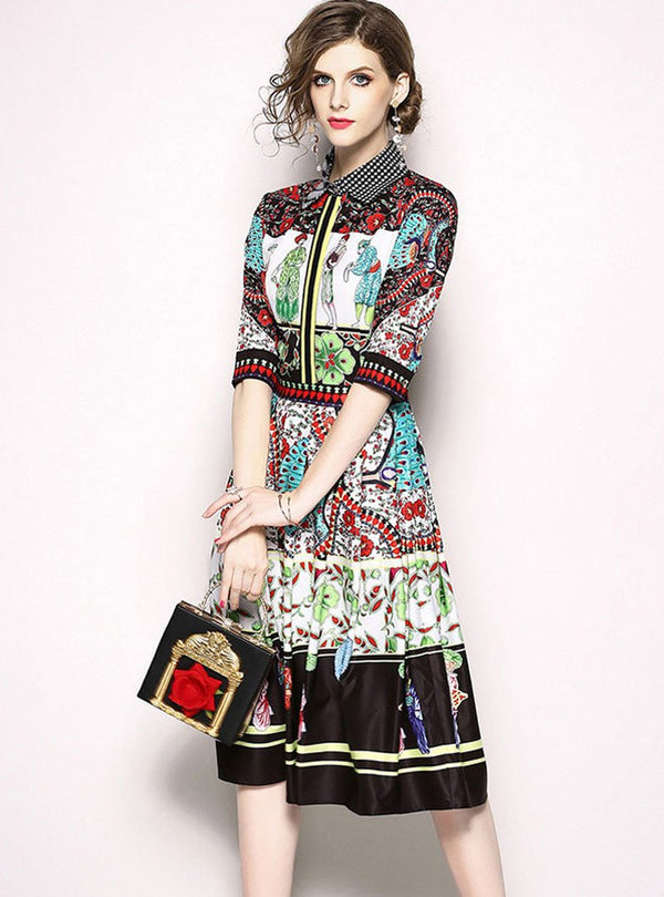 Multi Color Floral Printed Vintage Cinched Waist Midi Dress