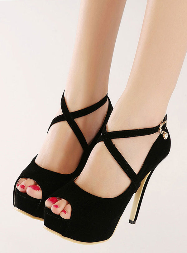 Black Peep Toe Stiletto Heels