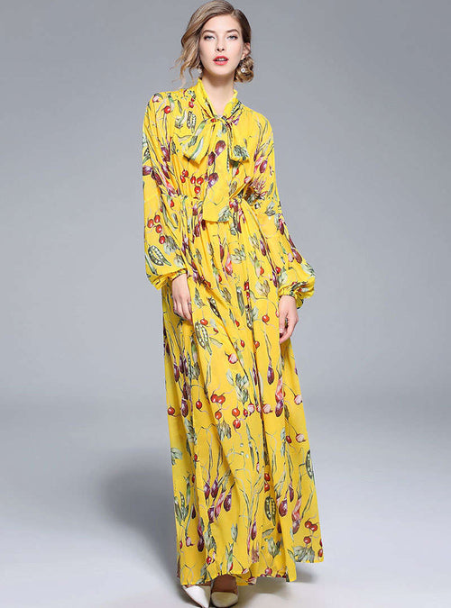 Yellow Floral Printed Bow Neck Maxi Dress