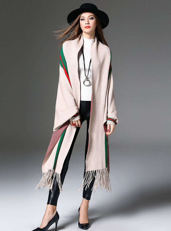 Apricot Striped Color Block Cardigan With Tassels
