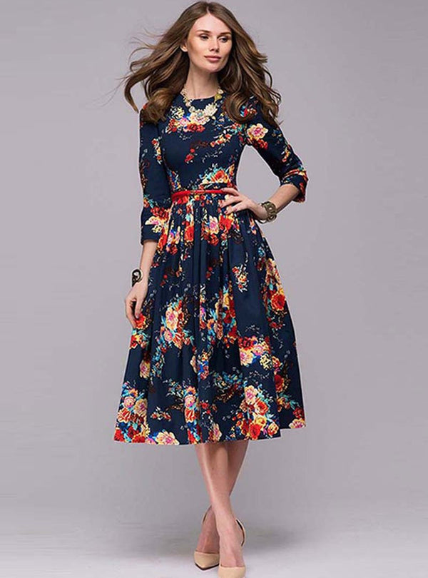 Navy Blue Floral Printed Round Neck Party Midi Dress