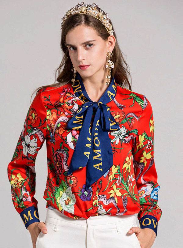 Red Scenery Printed Bowknot Neck Blouse