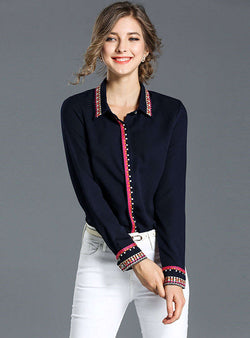 Navy Blue Single-Breasted Blouse