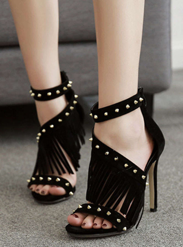 Zipper Rivet Tassles Stiletto Heel Sandals