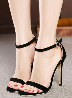 Solid Color Suede Stiletto Heel Sandals