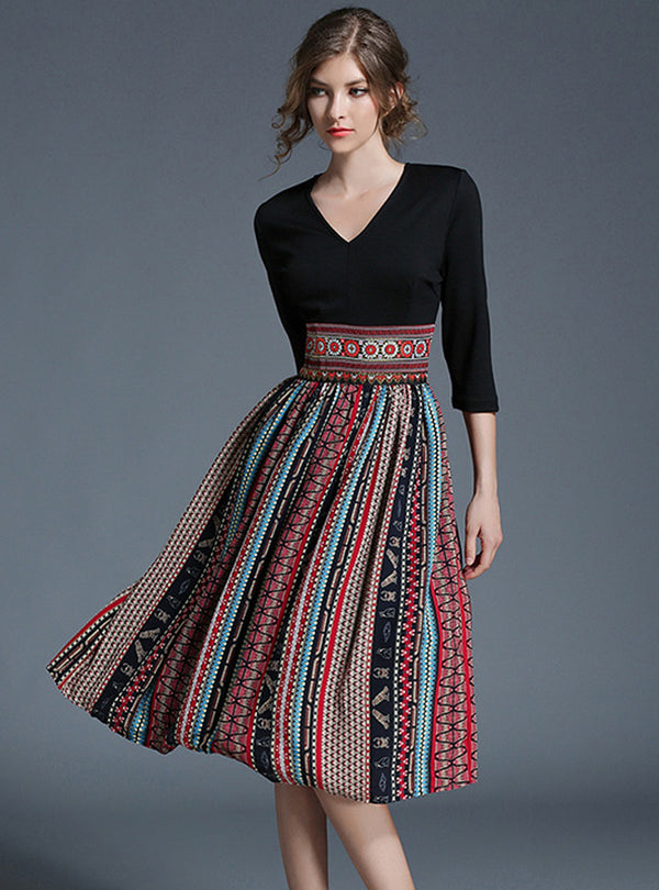 Black Multi Printed V-Neck Midi Dress
