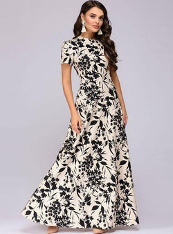 Beige Floral Printed Short Sleeve Round Neck Maxi Dress