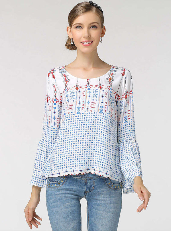 Flare Sleeve Printed Loose Blouse