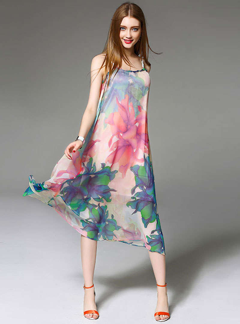 Multi Color Floral Printed Chiffon Sling Midi Dress