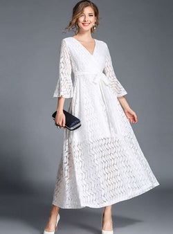 Solid Color Lace Falbala Sleeve Maxi Dress