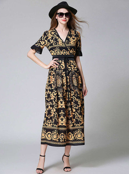 Yellow Floral Printed V-Neck Cinched Waist Maxi Dress