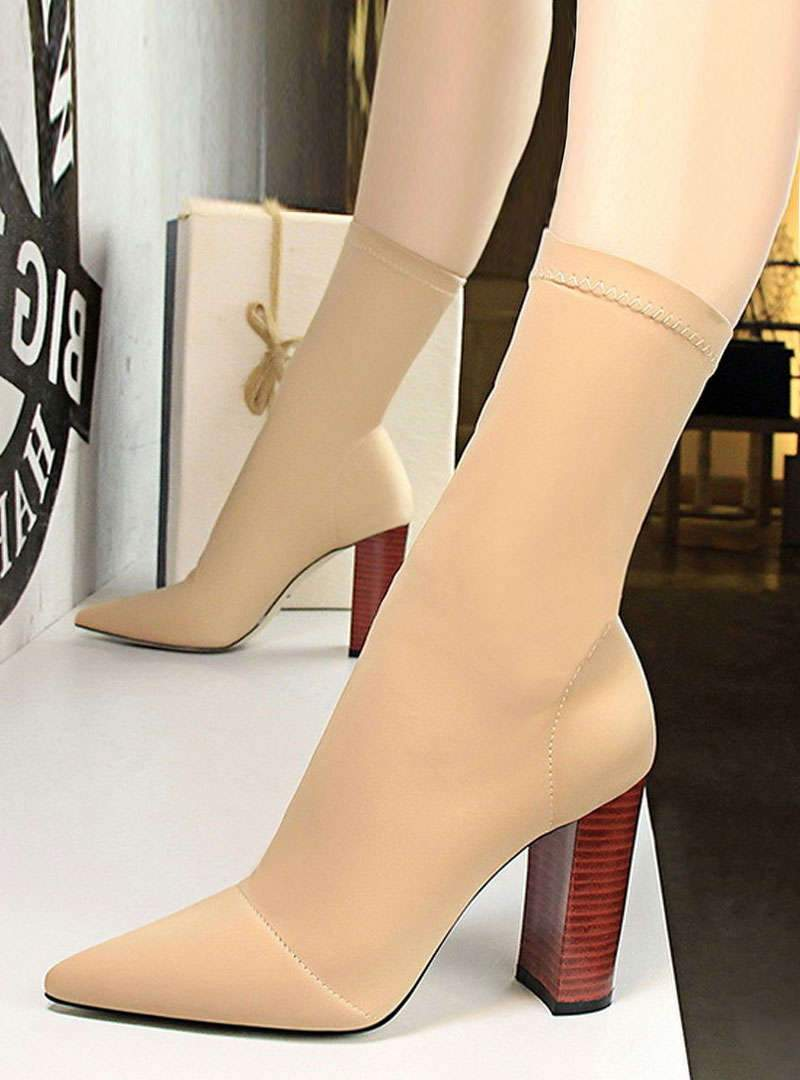 High Chunky Heel Pointed Toe Boots