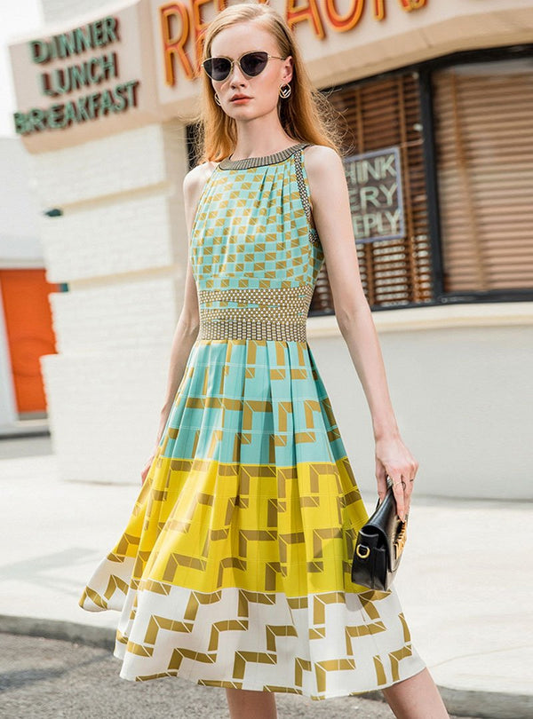 Green Round-Neck Sleeveless Printed Midi Dress